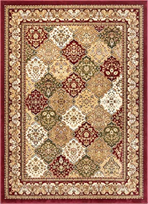 Monarch Panel Multi Color Red Oriental Area Rug Persian Formal Traditional Area Rug 4 X 5 Easy Clean Stain Fade Resistant Shed Free Modern Classic Contemporary Thick Soft Plush Living Dining