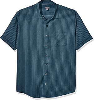 Van Heusen Big and Tall Air Tropical Short Sleeve Button Down Poly Rayon Shirt Camisa Abotonada para Hombre