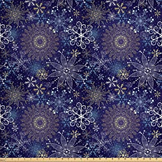 Ambesonne Dark Blue Fabric by The Yard, Christmas Inspired Pattern with Ornate Curly Snowflakes Mandala Style, Decorative Fabric for Upholstery and Home Accents, 2 Yards, Indigo White