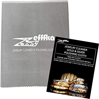 ZEFFFKA Gold and Silver Polishing Cleaning Cloth for Jewelry Coins Watches and Other Fine Valuables Cleaner for Precious M...