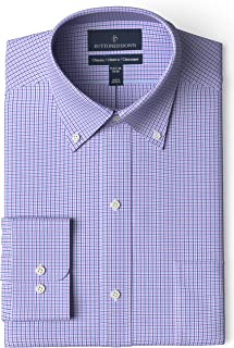 "Buttoned Down Men's Classic Fit Button Collar Pattern Non-Iron Dress Shirt, Purple/Blue Tattersalll Micro Check 16"" Neck 37"" Sleeve"
