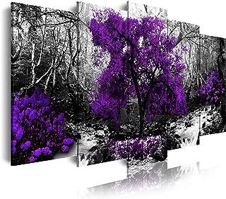 DekoArte 289 - Cuadro moderno en lienzo 5 piezas paisaje bosque con árbol morado en fondo blanco y negro, 150x3x80cm