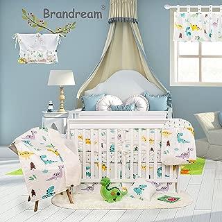 Brandream Dinosaur Crib Bedding Sets for Boys with Bumper Pads 100% Hypoallergenic Cotton Baby Nursery Bedding Set 11 Pieces