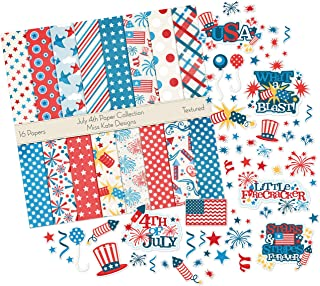 July 4th Set   Matching Die Cuts & Paper Kit by Miss Kate Cuttables   16 Single - Sided 12