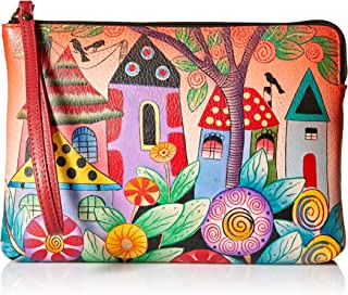 Women's Genuine Leather Small Classic Clutch/Wristlet | Hand Painted Original Artwork