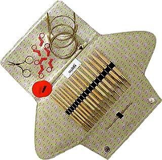 addi Click Bamboo Gold Edition - Interchangeable Needle Set with addi Gold Scissors, 3 Gold Cords, addi Socks Stitch Marker and addi Grip Pads