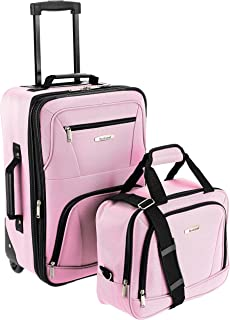 Fashion Softside Upright Luggage Set, Pink, 2-Piece (14/20)