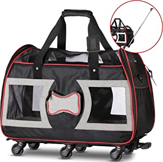 f3b415a37c WPS Airline Approved Pet Carrier with Wheels for Small Dogs and Cats -  Removable Fleece Bed