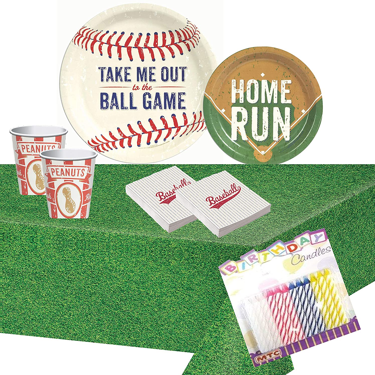 Baseball Time Party Supplies Pack: Plates Napkins Cups and Table Cover with Birthday Candles