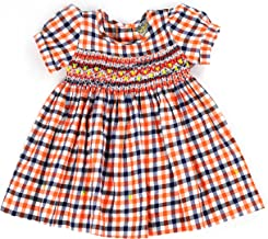 sissymini - Infant and Toddlers (12M-4T) Hand Smocked Dress | Oriana Oliver's Plaid in Orange and Navy