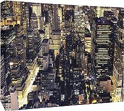 JP London CNV2186 New York Night Bright Lights City Skyline Canvas Art Wall Decor, 1.5' x 2'