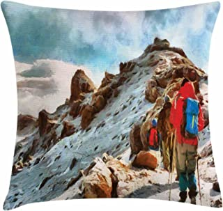 Ambesonne Mountain Throw Pillow Cushion Cover, Group of Trekkers Hiking Among Snows of Kilimanjaro in Winter in Painting Style, Decorative Square Accent Pillow Case, 20