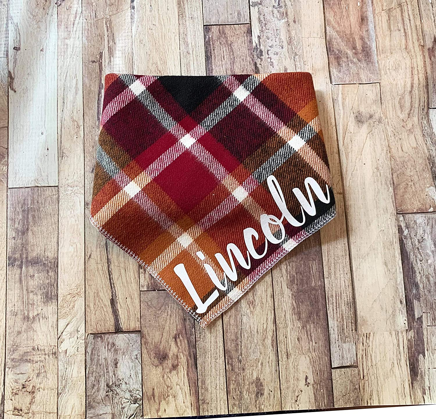 The Fall Plaid Flannel Bandana Large-scale sale Personalized Dog San Francisco Mall