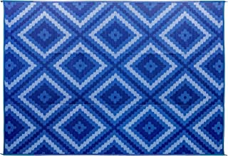 Camco Blue and White Zig Zag Large Reversible Outdoor Patio Mat-Mold and Mildew Resistant, Easy to Clean, Perfect for Picnics, Cookouts, Camping, and The Beach (9' x 12', Design) (42866)