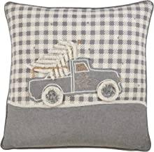 """Saro Lifestyle Tamora Collection Plaid Christmas Truck Design Pillow With Down Filling, 18"""", Grey"""