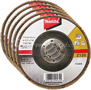 Makita 5 Pack - 120 Grit Flap Disc For Grinders - Fine Conditioning For Metal, Stainless Steel & Non-Ferrous - 4-1/2