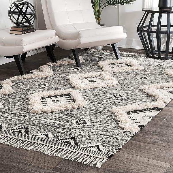 NuLOOM Moroccan Shag Fringe Wool Rug 7 6 X 9 6 Black