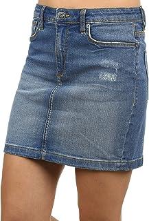 BlendShe Adria Women's Short Skirt Denim Skirt Mini Skirt With Destroyed Look Stretch Material