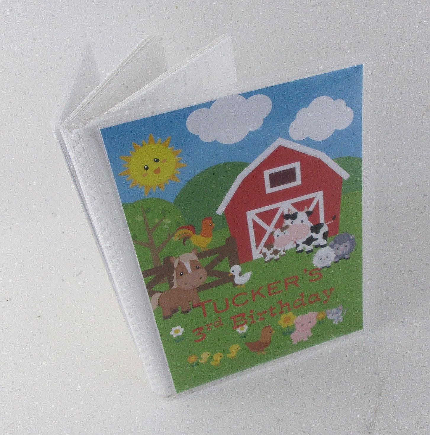 Birthday Photo Album IA#541 Barnyard Farm Animals Personalized Baby Boy or Girl 4x6 or 5x7 Pictures