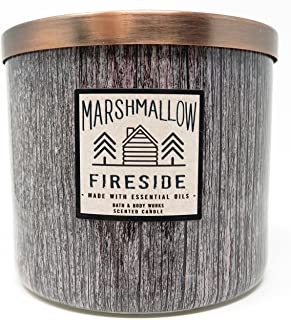Bath and Body Works White Barn 3 Wick Candle Marshmallow Fireside Brown Wood Grain Look Now Made With Essential Oils