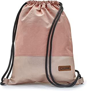 By-Bers LEON Tasche Turnbeutel Rucksack, Design unifarben mit Kunstlederboden, Sportbeutel Gym Bag Gymsack Hipster Fashion, Rosa_rosametallic, flach 34cmx45cm -1cm