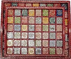 Shri Majisa Art Wooden Checked Tray, 2-Piece