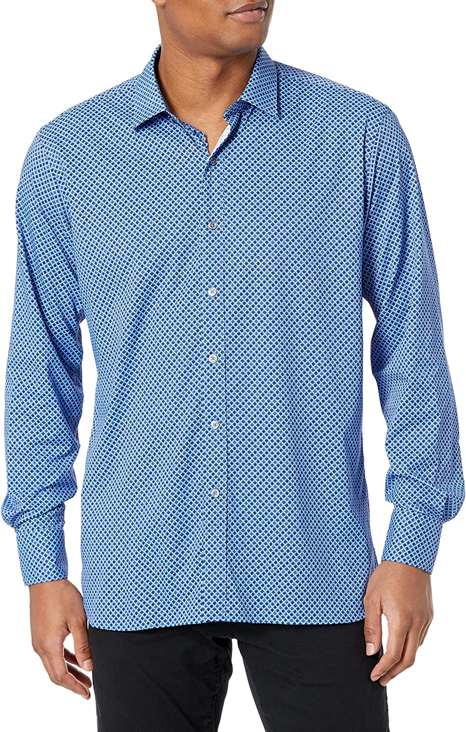 Bugatchi Men's Long Sleeve Point Collar Shaped Performance Woven