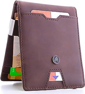 15f0afaadf90f6 Portafoglio uomo - Porta carte di credito piccolo sottile con clip  fermasoldi - Blocco RFID -