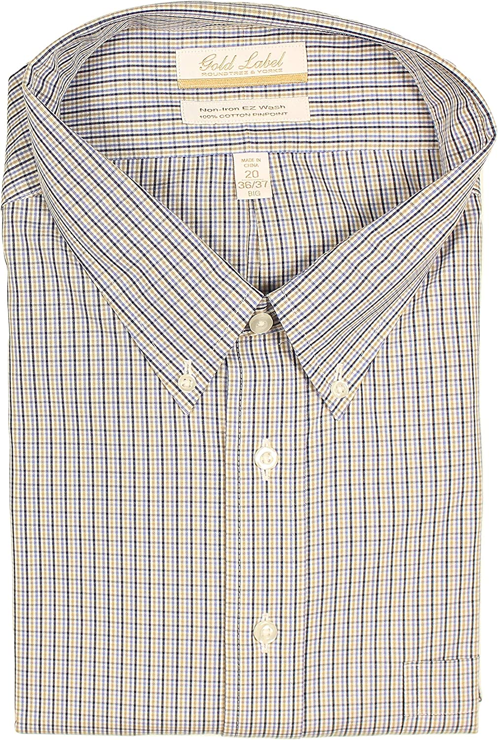 Gold Label Big Tall Non-Iron Wrinkle Resistant Men's Pinpoint Cotton Dress Shirt with Button-Down Collar (Tan Multi 026 & Blue, 20 x 36/37 Big)