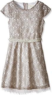 فستان BTween من الدانتيل المعدني للفتيات الكبيرات مع رباط خصر لؤلؤي