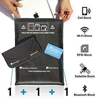 Armadillo Pro-Tec Faraday Bags and RFID Blocking Wallet Card (3 Pc. Set) Protect Cell Phones, Car Key Fobs, Passports, Wallets, or Tablets | Portable Travel Protection | NFC, EMP, EMF