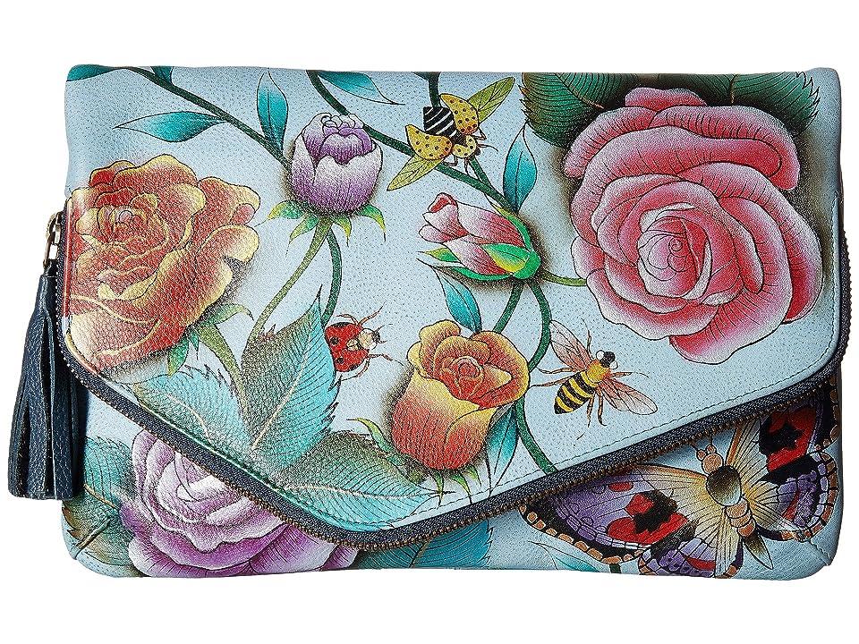 Anuschka Handbags 607 Convertible Envelope Clutch Wristlet (Roses D