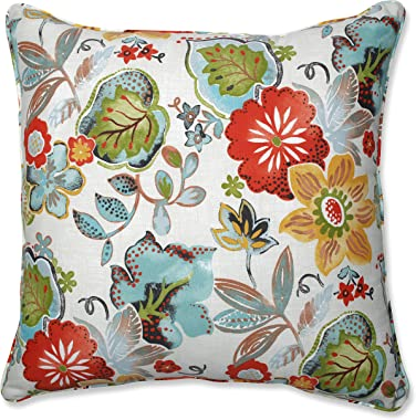 "Pillow Perfect Outdoor/Indoor Alatriste Ivory Floor Pillow, 25"" x 25"", Floral"