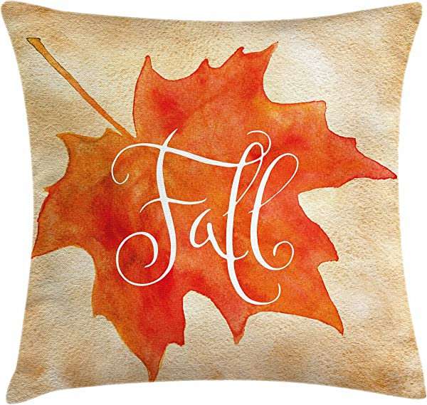 Ambesonne Fall Throw Pillow Cushion Cover Vivid Watercolor Style Maple Leaf Fall Word On Vintage Backdrop Decorative Square Accent Pillow Case 20 X 20 Brown Orange