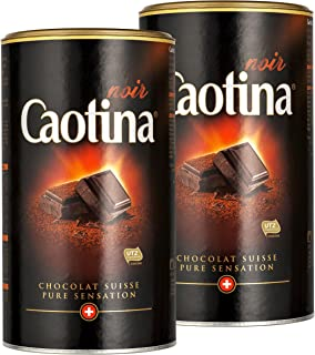 Caotina noir, Cocoa Powder with Dark Swiss Chocolate, Hot Chocolate, 2 Pack, 2 x 500g