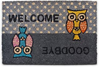 """Relaxdays – Felpudo con un búho Impreso """"Welcome-Goodbye"""" para la Entrada de su hogar Hecho de Fibras de Coco y PVC con Me..."""