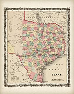 1858 Cotton Map Texas - 11x14 Unframed Art Print - Makes a Great Gift to Cartographers Under $15