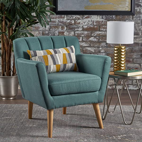 Christopher Knight Home 301453 Merel Mid Century Modern Fabric Club Chair Dark Teal Natural