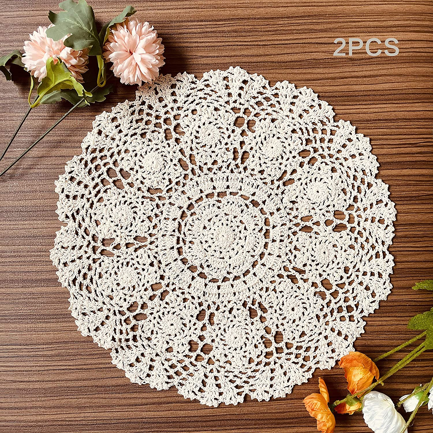 COOKY Handmade Crochet Doilies 2Pcs discount Cloth Table Indefinitely Placemats Lace