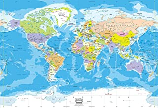 Academia Maps Large 62 x 42 Blue Ocean World Map Wall Decal | Easy to Hang Wallpaper Stick and Peel | Wall Map of The World. Easy to Apply, Reposition, Remove. Safe for Walls
