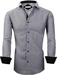 Mens Long Sleeve Printed Dress Shirts Casual Button Down Regular Fit Men Shirt