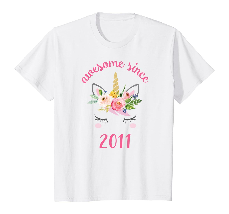 Unicorn 7th Birthday Girl, Awesome Since 2011 Shirts