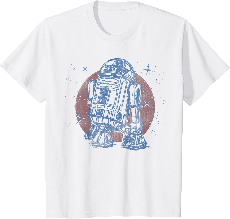 Star Wars R2-D2 Vintage Neon Retro Sparkly Badge Maglietta