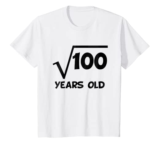 Kids 10th Birthday Shirt Square Root 10 Years Old Math T