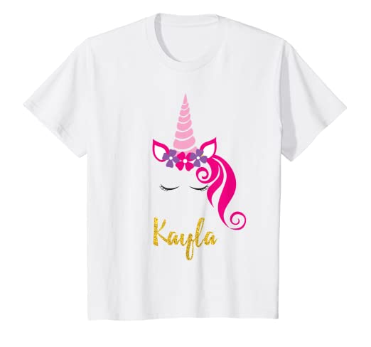 8269c57db Image Unavailable. Image not available for. Color: Kids Kayla Unicorn Shirt  Girls Personalized ...