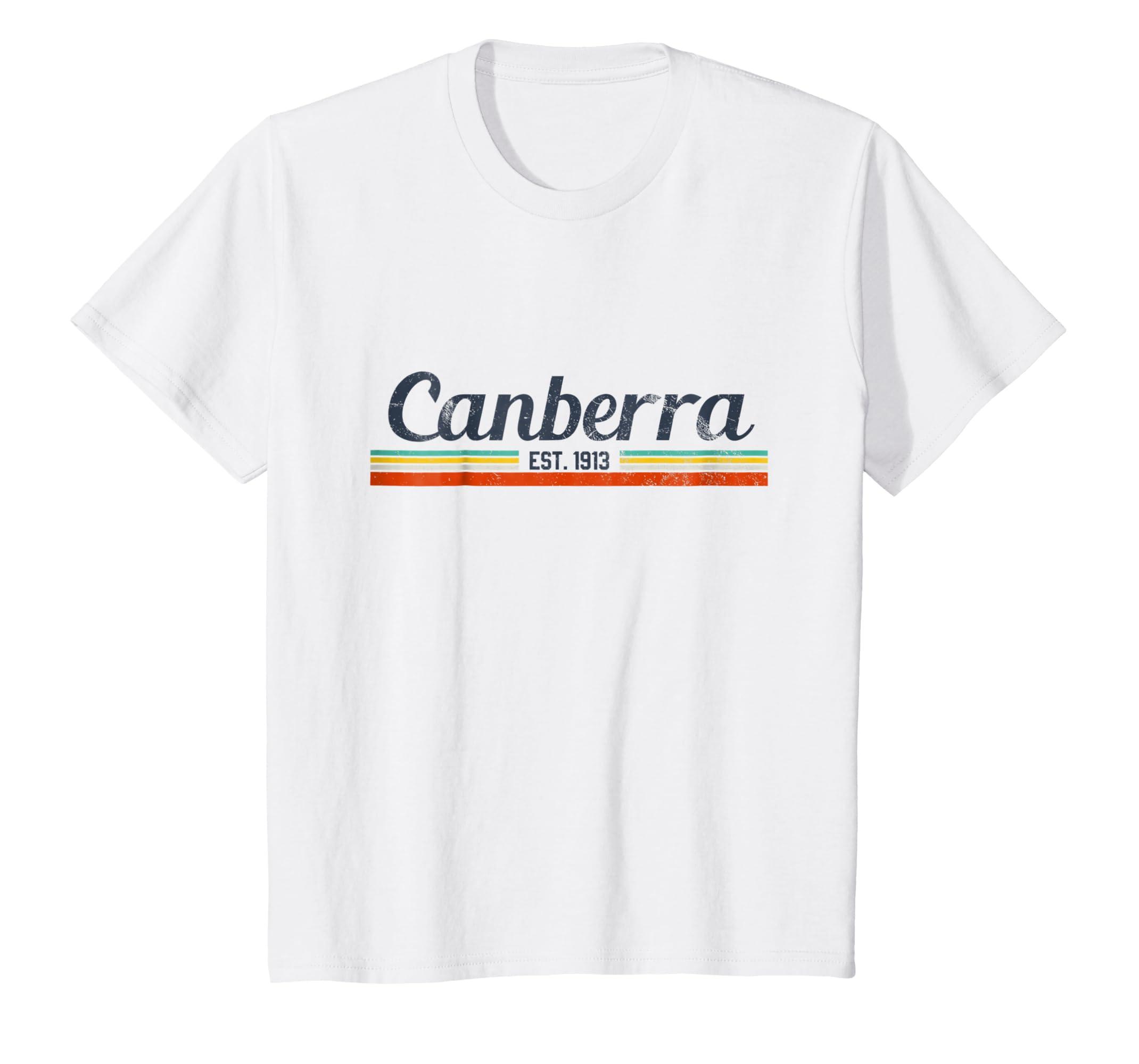 d32603c4af Amazon.com: Canberra T-Shirt - Vintage Retro Australia Shirt Gift ...