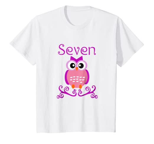 Kids 7 Year Old Owl Birthday Party 7th Shirt