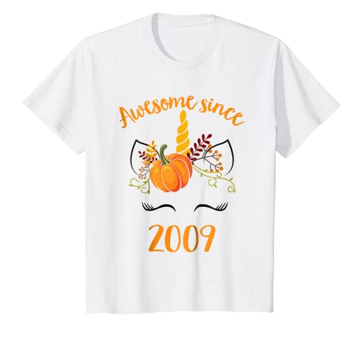 Kids Thanksgiving Unicorn Awesome Since 2009 10th Birthday Shirt