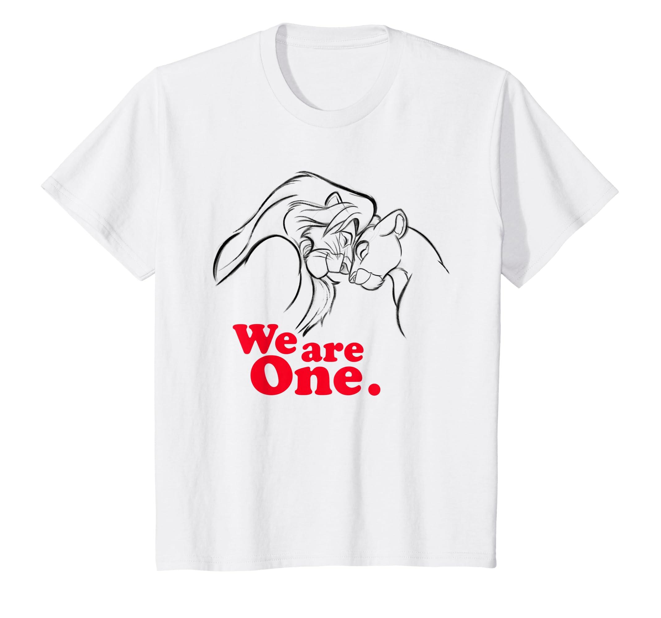 e6b30313b Amazon.com: Disney Lion King Simba and Nala We are One Love T-Shirt:  Clothing