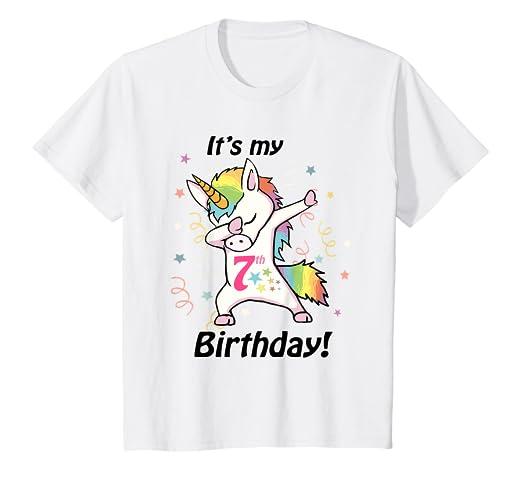 Amazon Kids Its My 7th Birthday Unicorn Dabbing Shirt 7 Year